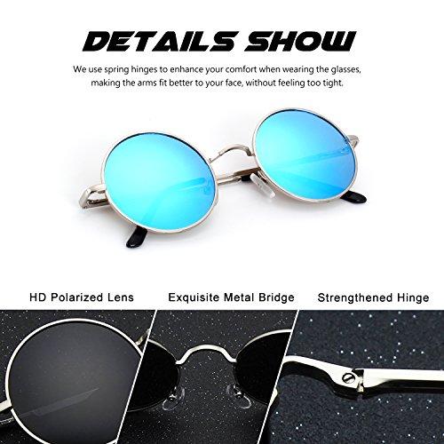 Lennon 47mm y gafas E01 A de para redondo Plateado metálico inspirado mujeres hombres círculo Estilo Vintage polarizadas Retro Azul sol CGID xIzqwUZBZ