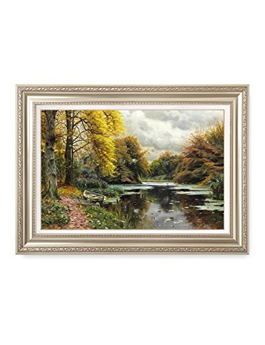 DecorArts - River Landscape 1903, Peder Mork Monsted Classic Art Reproductions. Giclee Prints& Museum Quality Framed Art for Wall Decor. Framed size: 36x26'' by DECORARTS