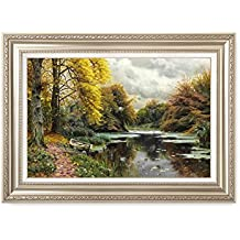 DECORARTS River Landscape 1903, Peder Mork Monsted Classic Art Reproductions. Giclee Prints& Museum Quality Framed Art for Wall Decor. Framed size: 36x26