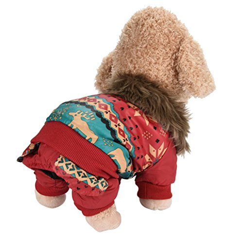 Minisoya Dog Pet Warm Cotton Coat Christmas Elk Puppy Winter Clothes Pet Costume (Red, L) -