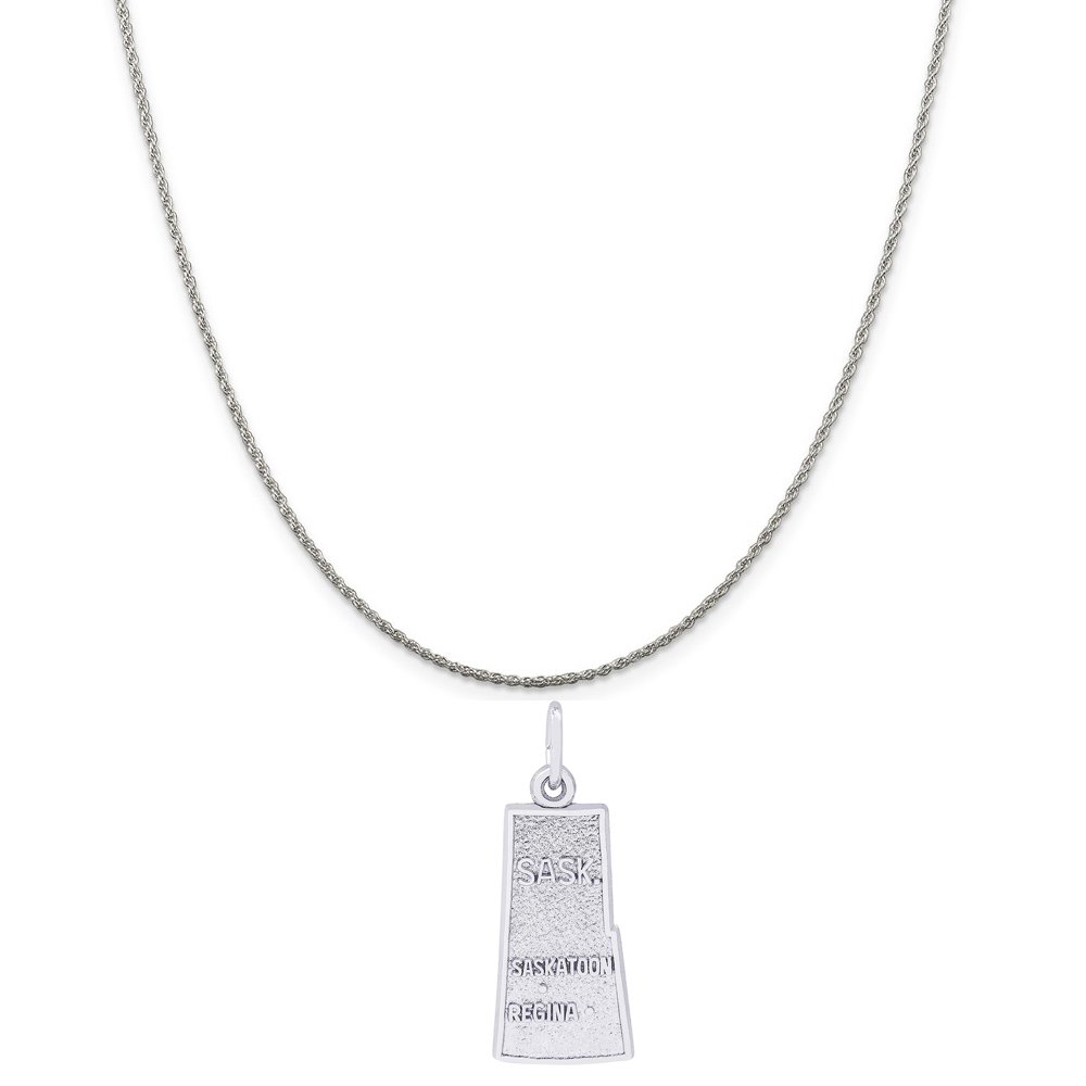 Rembrandt Charms Sterling Silver Saskatchewan Charm on a 16 Box or Curb Chain Necklace 18 or 20 inch Rope