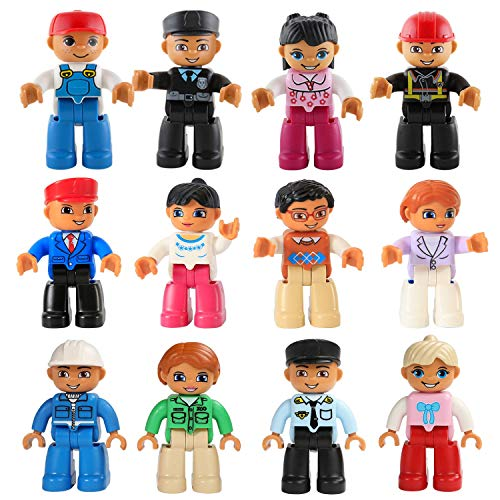 Magnetic Figures Set of 12 – Toy People Magnetic Tiles Expansion Pack for Boys and Girls – Nurse, Builder, Fireman, Police Educational Stem Toys Add on Sets for Magnetic Blocks (3 Different Sets)