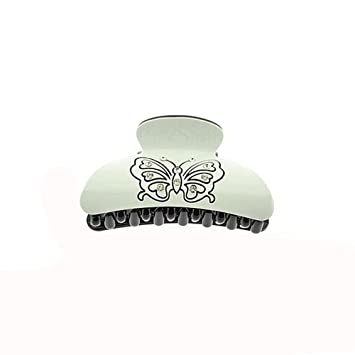 Hair - Plastic Crab Tongs 8 cm - Black   White Rhinestones Butterfly   Amazon.co.uk  Beauty a2a479a28e