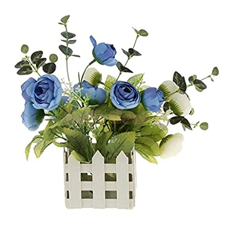 MIJORA-Garden Artificial Flowers Picket Fence Pot Potted Plant Holder 10x10cm White (Patio Pickets)
