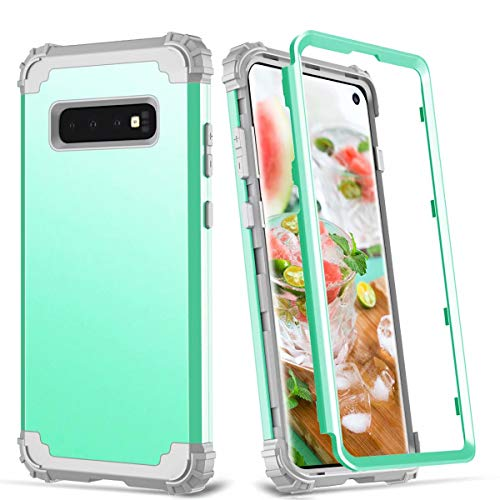 Galaxy S10 Plus Case,Hybrid Heavy Duty Shockproof Military Armor Protective Case Dual Layer Impact Protection Case with Full Coverage Screen Protector for Samsung Galaxy S10 Plus 6.4inch (Aqua)