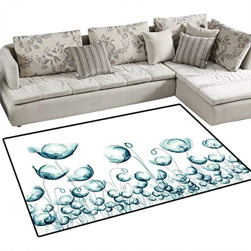 Flower Anti-Static Area Rugs X-ray Picture of Poppy Flowers in a Windy Day Unusual Look into The Nature Art Image Children Kids Nursery Rugs Floor Carpet 40