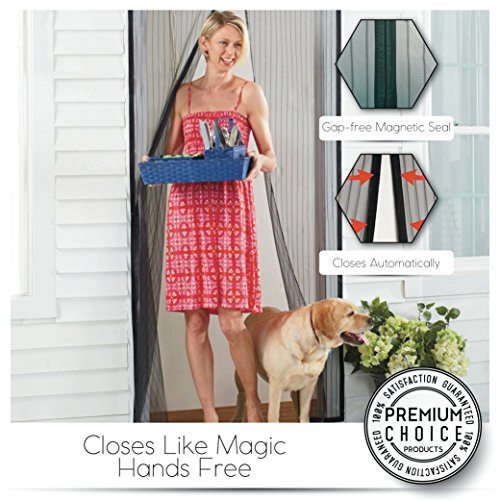White Magnetic Screen Door - Keeps Bugs OUT, Lets Fresh Air In. No More Mosquitos or Flying Insects. Instant Bug Mesh with Top-to-Bottom Seal, Snaps Shut Like Magic for a Hands-Free Bug-Proof Curtain by Premium Choice Products (Image #4)