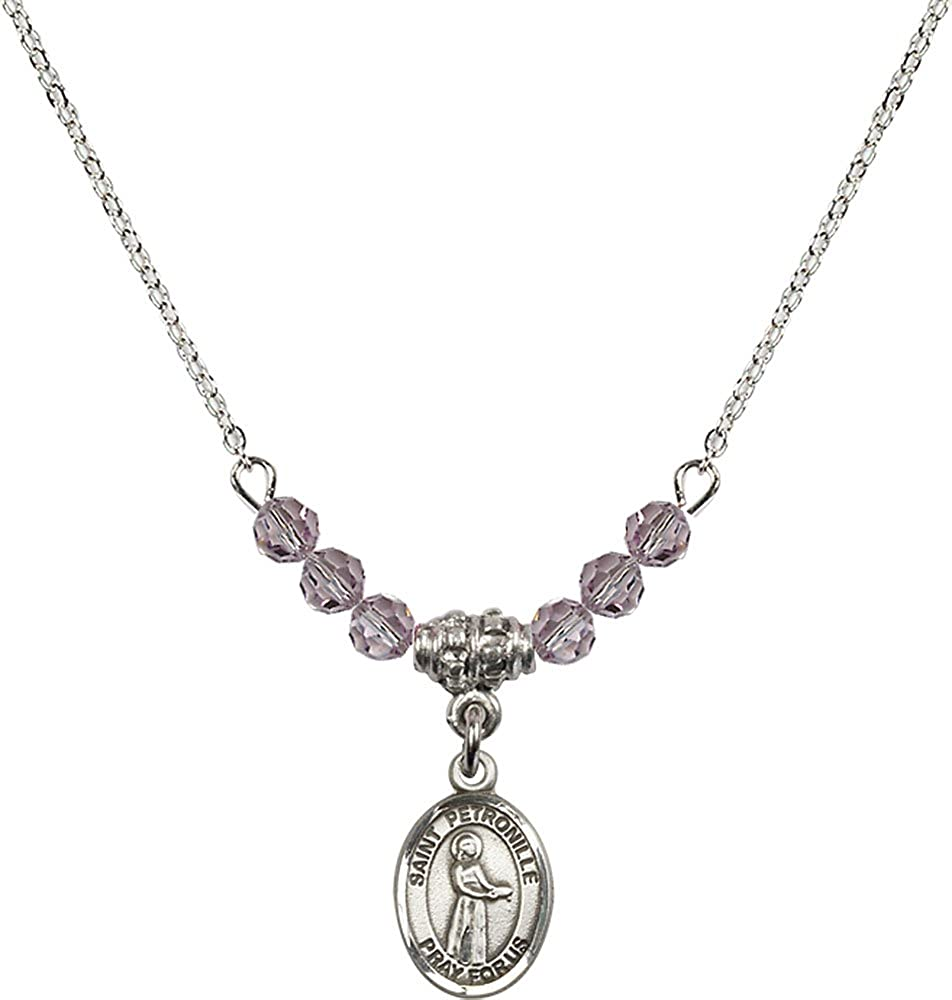 18-Inch Rhodium Plated Necklace with 4mm Light Amethyst Birthstone Beads and Sterling Silver Saint Petronille Charm.