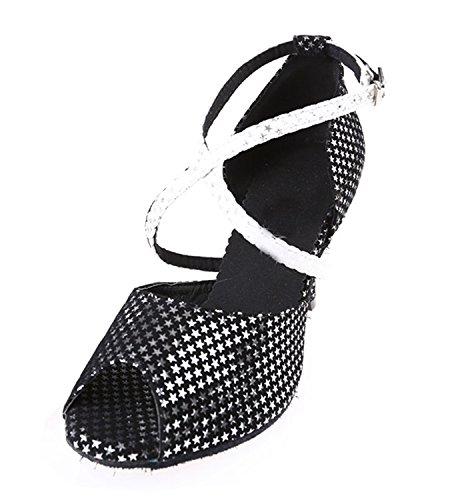 Minitoo QJ6115 Womens Peep Toe High Heel Suede Sparking Stars Salsa Tango Ballroom Latin Strappy Dance Sandals Black
