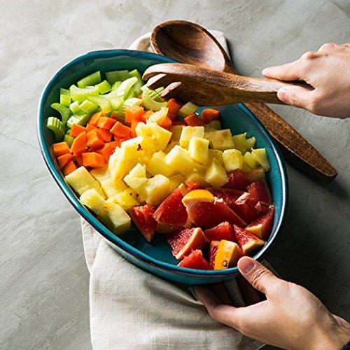 He Xiang Ya Shop Blue Large Dinner Plate Soup Plate Household Fruit Salad Dish Fish Plate Ceramic Dinnerware by He Xiang Ya Shop (Image #1)'