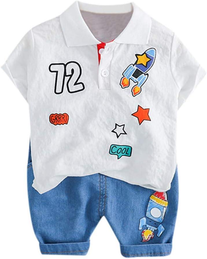 LianMengMVP Ensemble B/éb/é Gar/çon Filles T-Shirt Manche Courte Chemise Fus/ée Haut Tops Solide Short Pantalon Court V/êtements pour Enfant 6-24mois