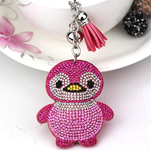 - JBANPOWLU Crystal Key Chain Silver & Rhinestone Charms Penguin Keychain Fashion for Car Key Ring Accessories Pink