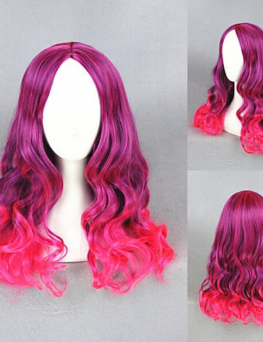 [liap-Beauty Wigs Medium Long Wave Guardians of the Galaxy-Gamora Color Mixed Anime Cosplay] (Gamora Costume For Sale)