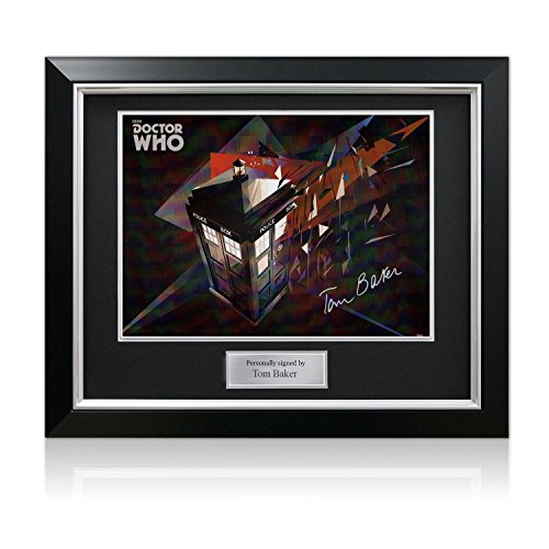 Tom Baker Signed Dr Who Tardis Poster In Deluxe Black Frame With Silver Inlay from Exclusive Memorabilia
