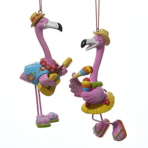 Kurt Adler 1 Set 2 Assorted Flamingos Resin Christmas Ornaments