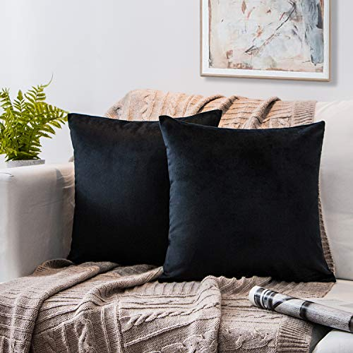 Phantoscope Set of 2 Soft Cozy Velvet Throw Pillow Solid Square Cushion Cover Black 20 x 20 inches 50 x 50 cm (Big Pillows Black)