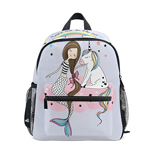 ZZKKO Mermaid Girl Unicorn Kids Backpack School Book Bag for Toddler Boys Girls