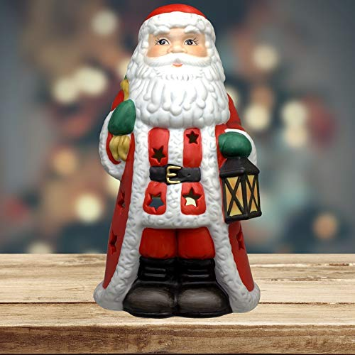 BANBERRY DESIGNS Santa Claus Decorative Candle Holder- Porcelain Hand Painted- Christmas Santa Tealight Holder