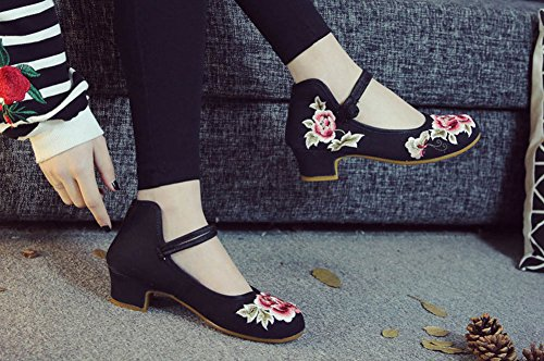 AvaCostume Womens Classic Peony Embroidery Strappy High Heels Black ci1dV