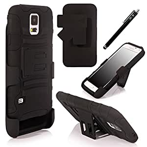 Samsung Galaxy S5 Dual Layer Heavy-duty Hybrid Case W/kickstand (Black)