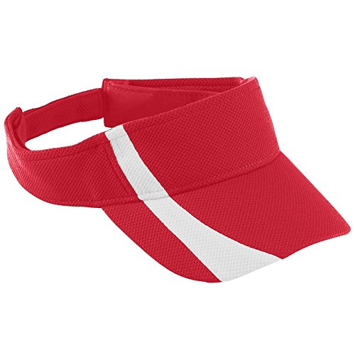 Pink Kids Visor - Augusta Sportswear Kids' Adjustable Wicking MESH Two-Color Visor OS Red/White