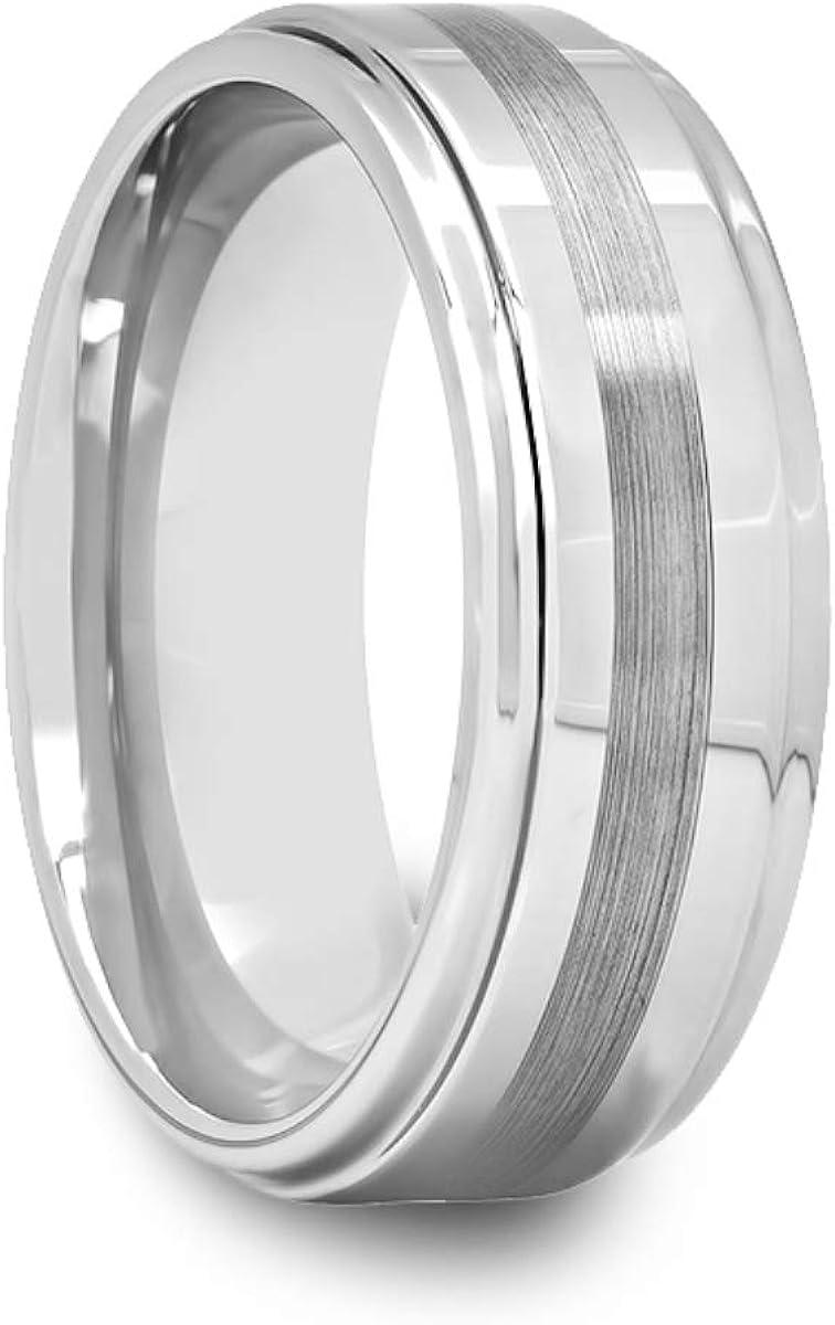 Mens Tungsten Ring with Raised Center /& Satin Stripe