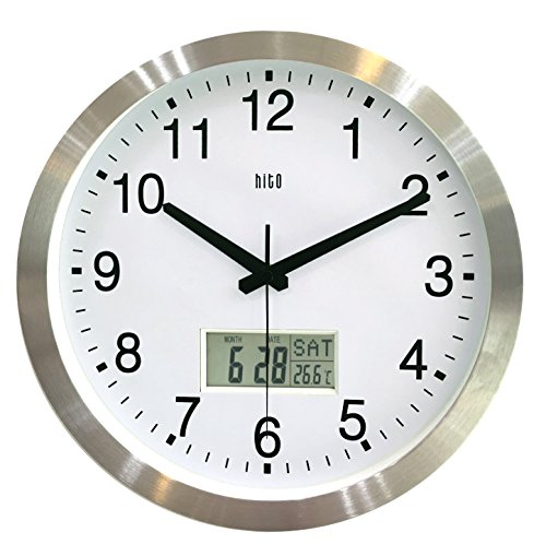 HITO 12 Inches Silent Non-ticking Wall Clock w/ Aluminum Frame, Acrylic Front Cover, Date, Indoor Temperature, Week (Silver w/ (Analog Clock Display)