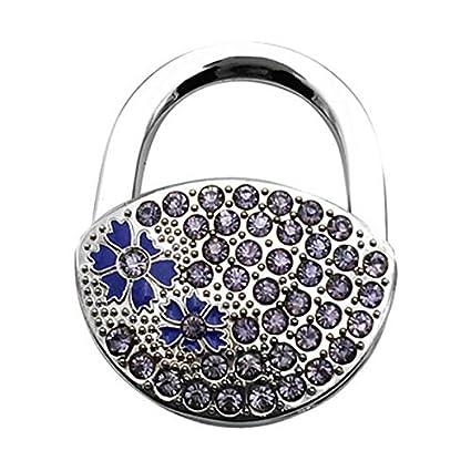 Trendy Rhinestone Flower Design Decor Folding Handbag Table Hook Desk Purse Hanger Pothook for Ladies Purple SODIAL R