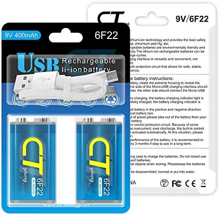 CTyoung Rechargeable 9 Volt Batteries with USB Charger Port, High Capacity of Smoke Detector Batteries 9v 400mAh 2packs