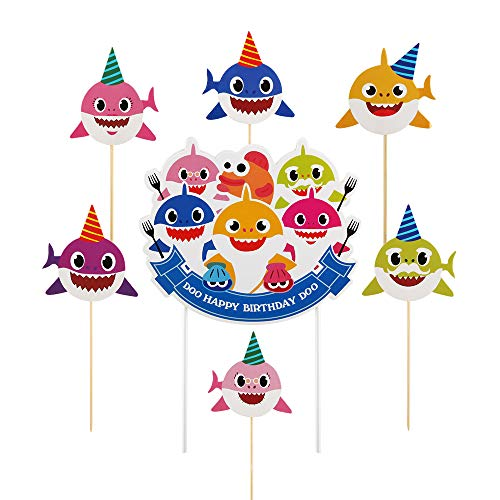 QIYNAO happy birthday cake topper Double sided Shark cake flag banner birthday party cake ornament
