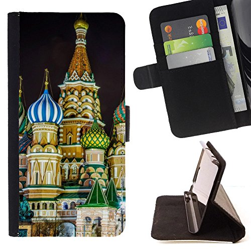 God Garden - FOR Apple Iphone 5 / 5S - Saint Basils Cathedral Moscow Russia - Glitter Teal Purple Sparkling Watercolor Personalized Design Custom Style PU Leather Case Wallet Fli