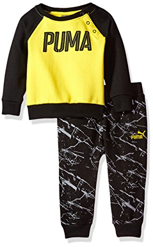 PUMA Baby Boys Two Piece Fleece Set, Cyber Yellow, 0-3 Months