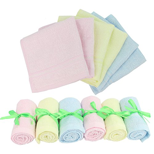 Baby Washcloths Wipes Ultra Soft – 100% Natural Organic Bamboo Face Towel – Premium Extra Soft & Absorbent Baby Wash Cloth – Perfect 10″x10″ 6 Pack Reusable Wipes for Newborn Boy & Girl by Diggold