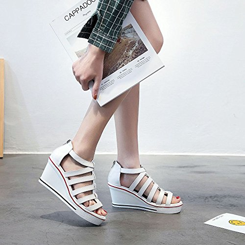 Toe Femme Wedge Confort Ssrsh Compensées Talon Marche Pu Baskets Cuir Plateformes Peep Chaussures Blanc Sandales Sxxdp8wCq