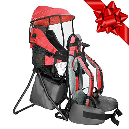 Baby Back Pack Cross Country Carrier Stand Child Kid Sun Shade Visor Shield Red by Clevr