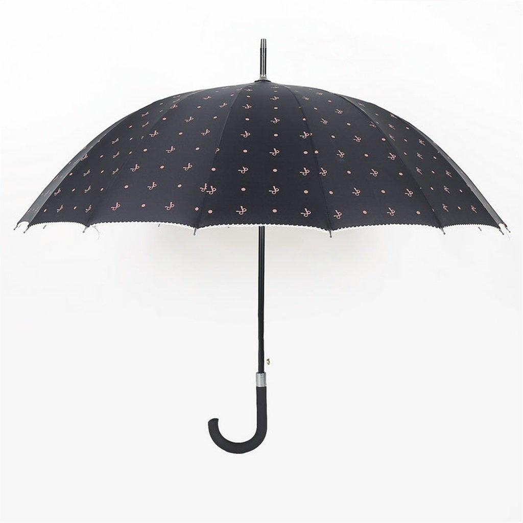 16 Knochen Schwarz Regenschirm Sunny Umbrella Die Kunststoffbeschichtung Anti-UV Männer und Frauen Mode Einfache Sonnenschirm Langstieligen Regenschirm-gerades Regenschirm HLH-YS