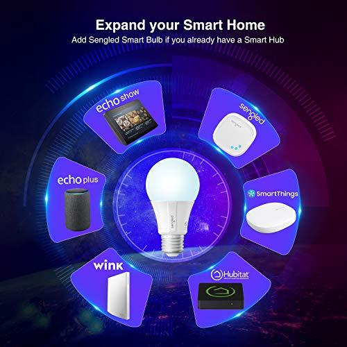 Sengled Smart Light Bulbs, Smart Bulbs that Work with Alexa, Google Home, Smart LED Light Bulbs 800LM Daylight, Alexa Light Bulbs 60W Equivalent, A19 Dimmable bulbs, Zigbee Smart Hub Required, 4 Pack