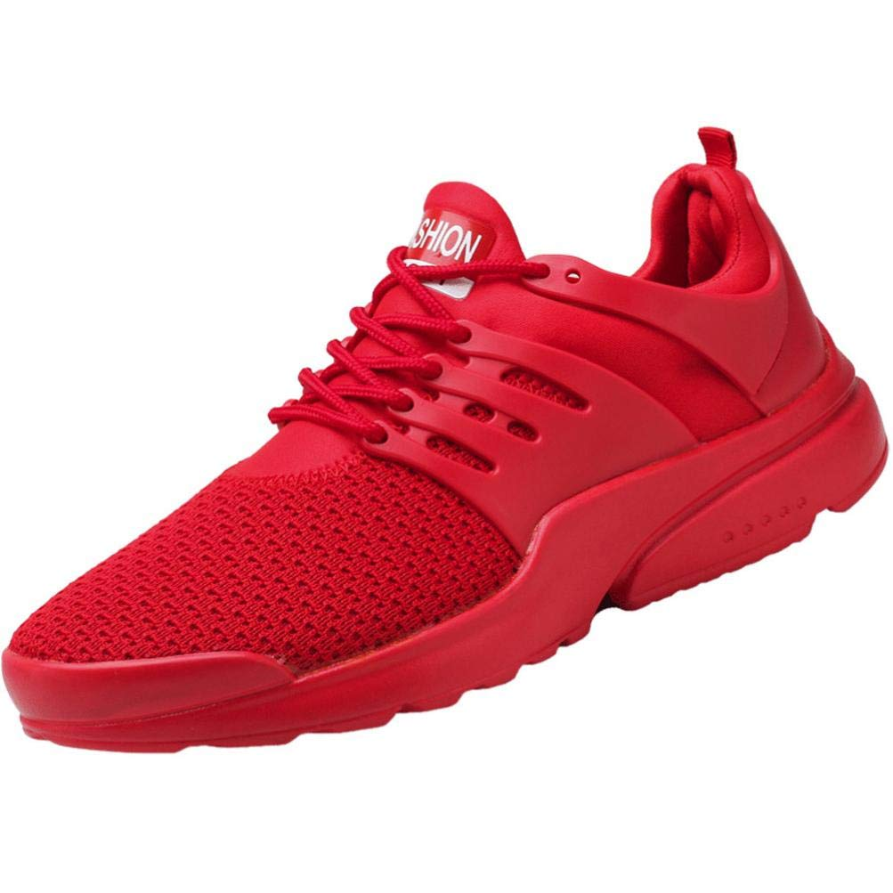CieKen Men's Fashion Running Shoes Fashion Breathable Sneakers Mesh Soft Sole Casual Athletic Lightweight Walking Shoes (Red, US:7)