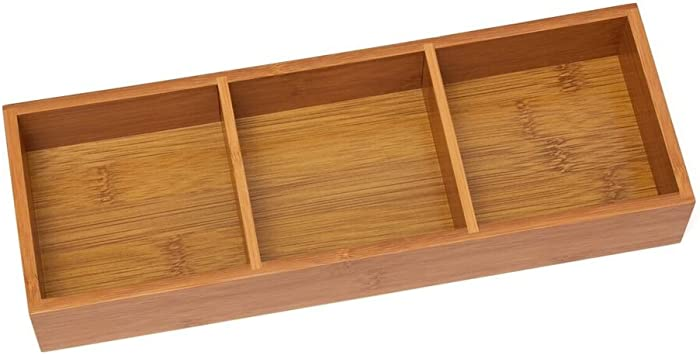 "Lipper International 823 Bamboo Wood 3-Compartment Organizer Tray, 11 5/8"" x 4 1/8"" x 1 3/4"""