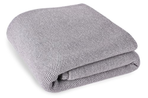 Love Cashmere Waffle Stitch 100% Cashmere Blanket - Light Gray - Super King Size - Made to Order - Made in Scotland ()