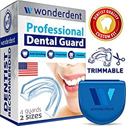 Wonderdent Mouthguard - The New Type of Moldable Dental Guard - The Most Comfortable Mouth Guard For Grinding Teeth, Bruxism, Clenching, Whitening & Sport - Made in USA - Two Sizes - Include Pack of 4