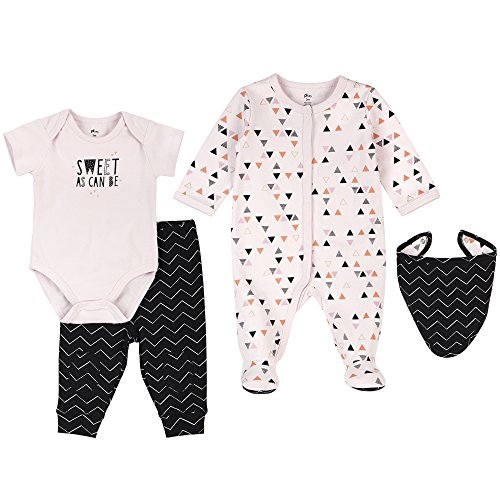 Petit Lem Baby 4 Piece Set Footie, Bib, Bodysuit & Pants, Triangle, NB ()