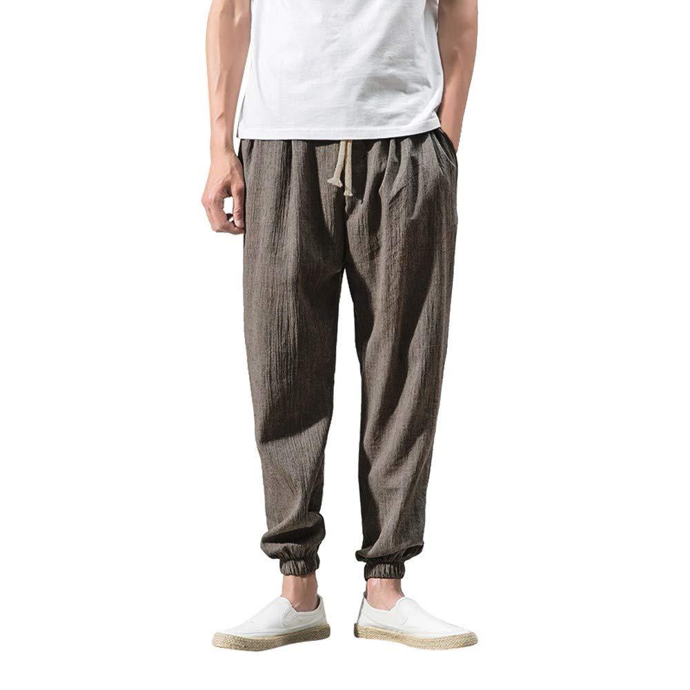 XUANOU Men's Slim Sports Ankle-Length Linen Trousers Baggy Harem Pants