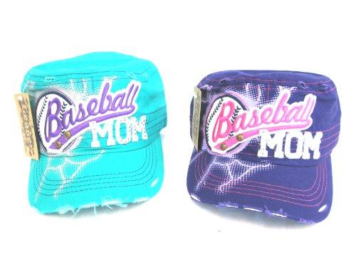 Military Stud - 2 Fashion Trendy Bling Rhinestone Baseball MOM Military Stud Cadet Cap Hat Turquoise & Purple