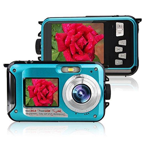 Digital Water Resistant Camcorder - Waterproof Digital Camera 1080P Full HD Underwater Camcorder 24 MP Video Recorder Selfie Dual Screen DV Recording Waterproof Camera