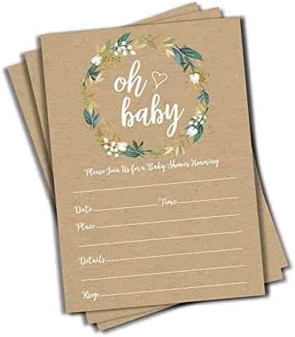 50 Oh Baby Kraft Greenery Invitations (Large Size 5x7) - Baby Shower Invitations (50 Count)