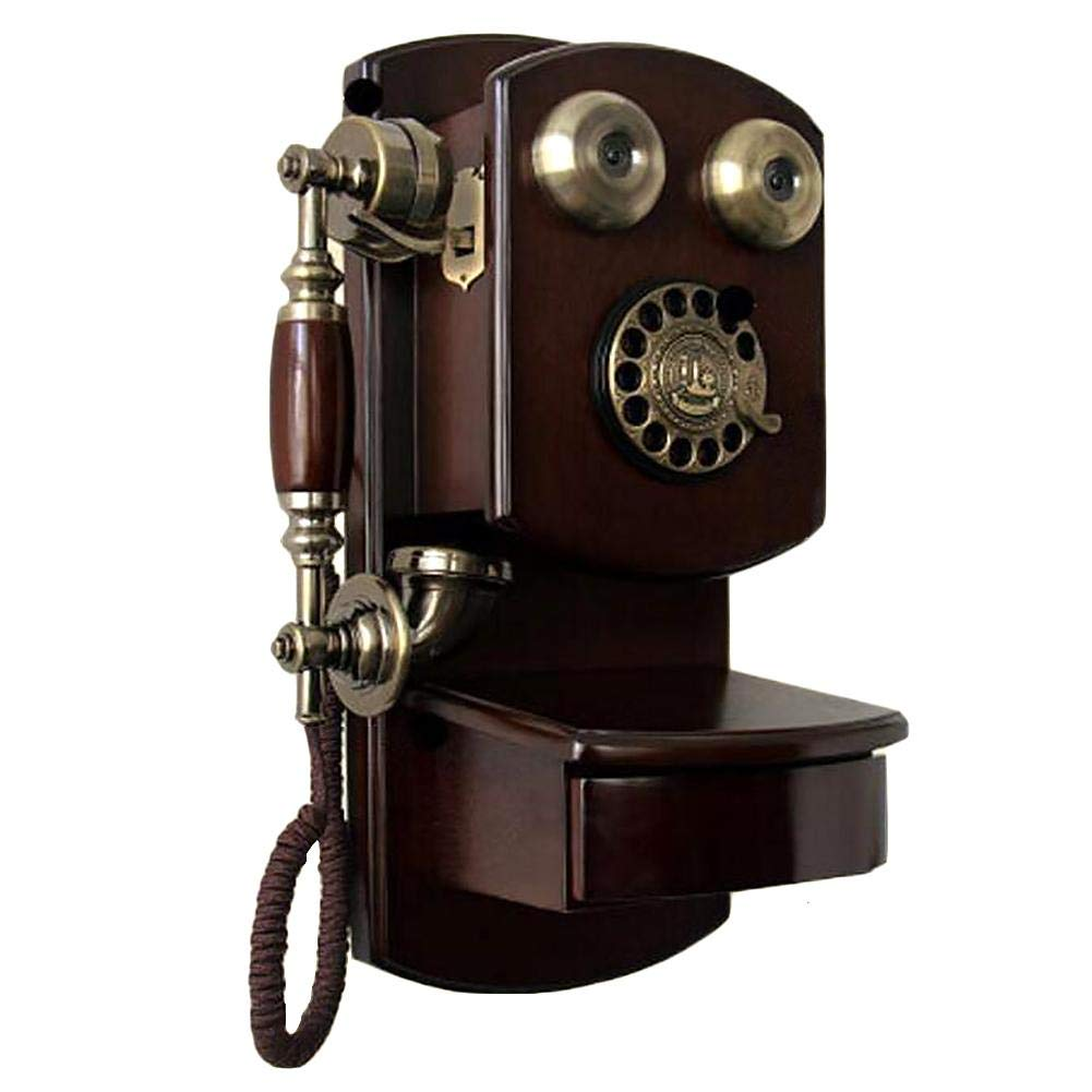 Bulary Rotary Dial Telephone Wall-Mounted with Metal Bell Handfree and Redial Function Classic Brown Retro Old Fashioned Landline Phones