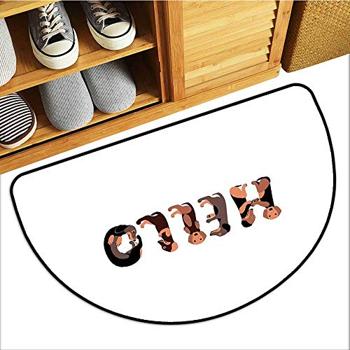 Welcome Door mat Dachshund Dachshund Puppies Spelling The Word Hello Lovely Animal Font Design Easy to Clean Carpet W31 xL20 Brown Caramel Taupe