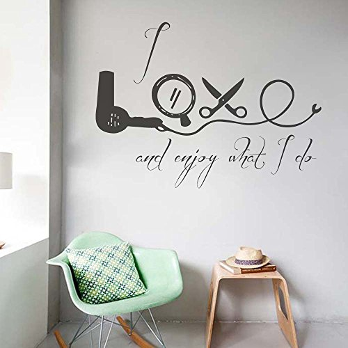 BATTOO Hair Salon Wall Decals Quote- I Love and Enjoy What I Do- Hairdressing Salon Decor Beauty Vinyl Stickers Home Decor Art(Black, (Saloon Girl Hairstyles)