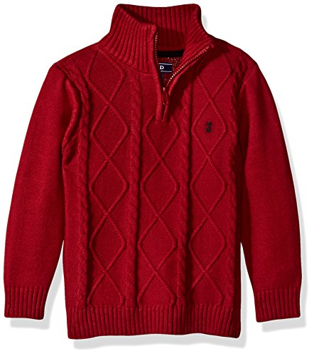 IZOD Big Boys' 1/4 Zip Cable Sweater, Red, Small (Cable Sweater Izod)